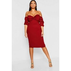 Boohoo Plus Off The Shoulder Red Midi Dress